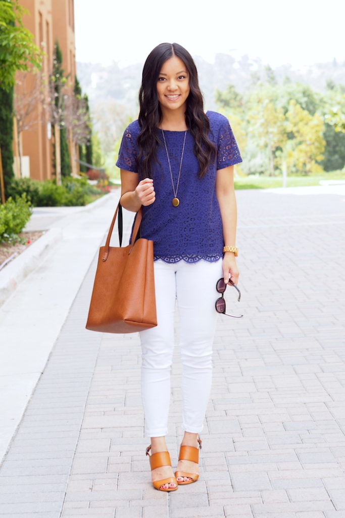 Blue Lace Top + White Jeans + Cognac Heels + Tote