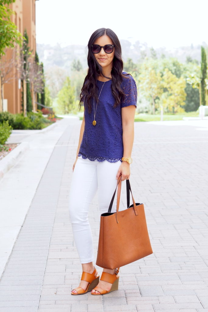 White Jeans + Blue Lace Top + Cognac Bag + Sandals