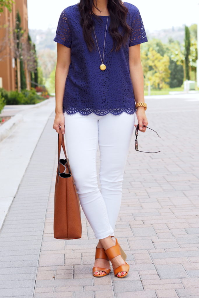 Blue Lace Top + Gold Necklace + White Jeans + Tote + Heeled Sandals