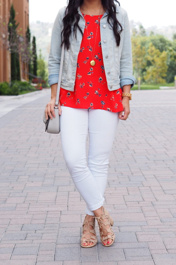 White Jeans + Red Blouse + Lace up Heels + Denim Jacket + Gold Pendant
