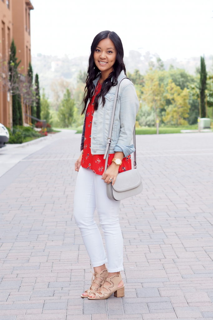 Denim Jacket + Red blouse + White Jeans+ Lace up Heels