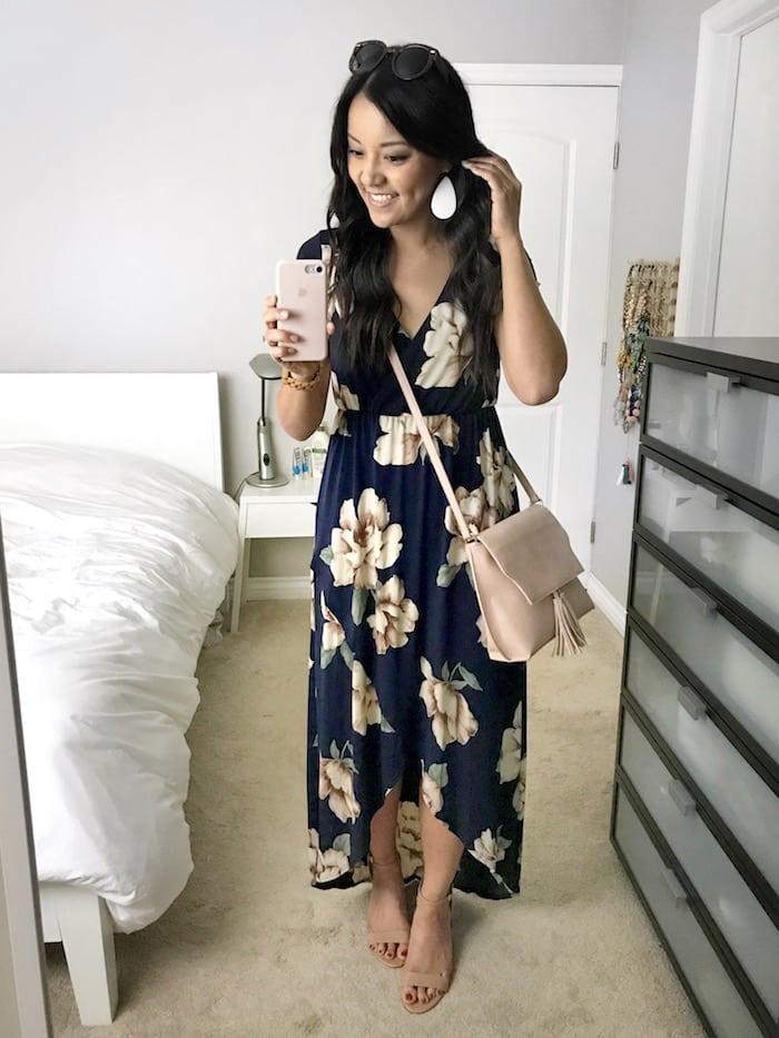 floral maxi dress + nude heels
