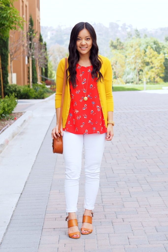 White Jeans + Red Blouse + Yellow Cardigan + Cognac Sandals