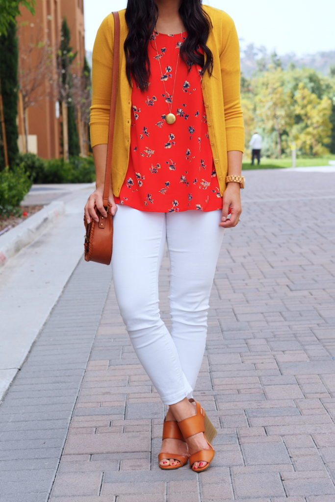 White jeans + Red blouse + Yellow Cardigan + Tan sandals