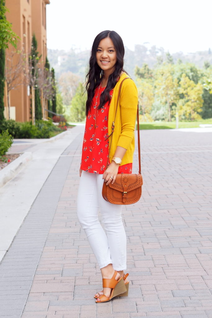 Yellow Cardigan + Red Blouse + White Jeans + Cognac Bag