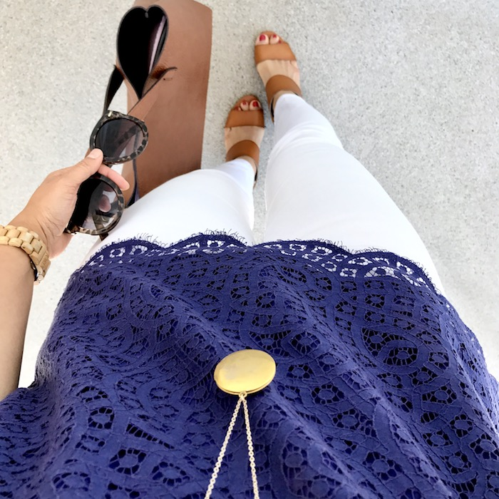 white jeans + navy lace tee + cognac accents