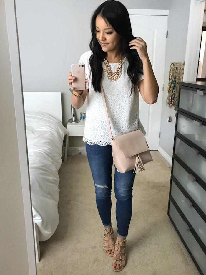 lace tee + jeans + blush accents