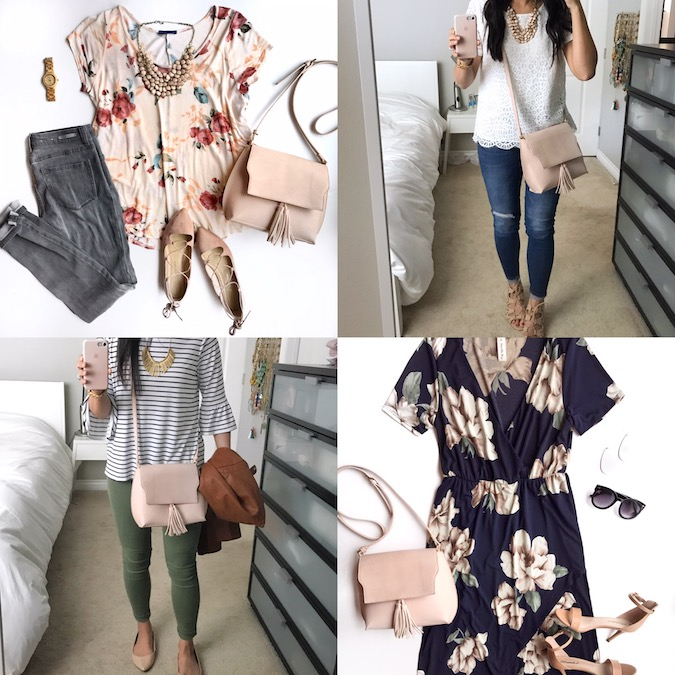 outfits with blush tassel crossbody bag