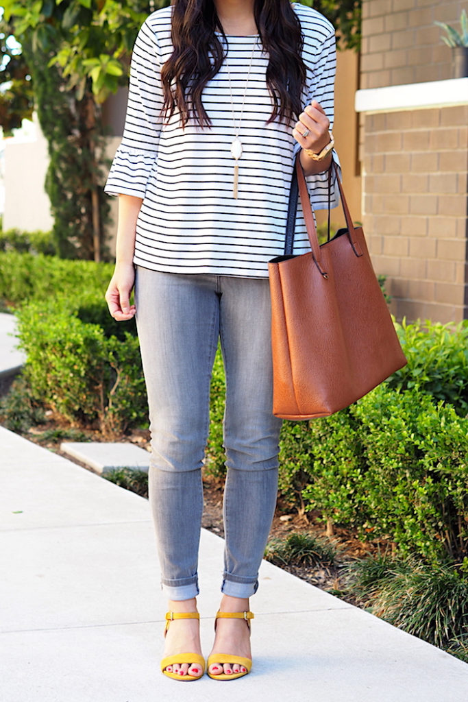 striped bell sleeve top + grey skinny jeans + yellow shoes