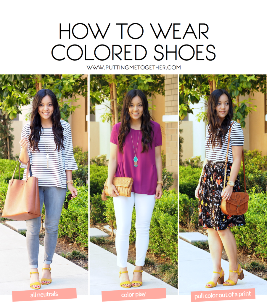 3 Outfits with Colored Shoes