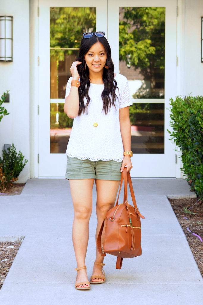 white lace top + olive utility shorts + tan sandals