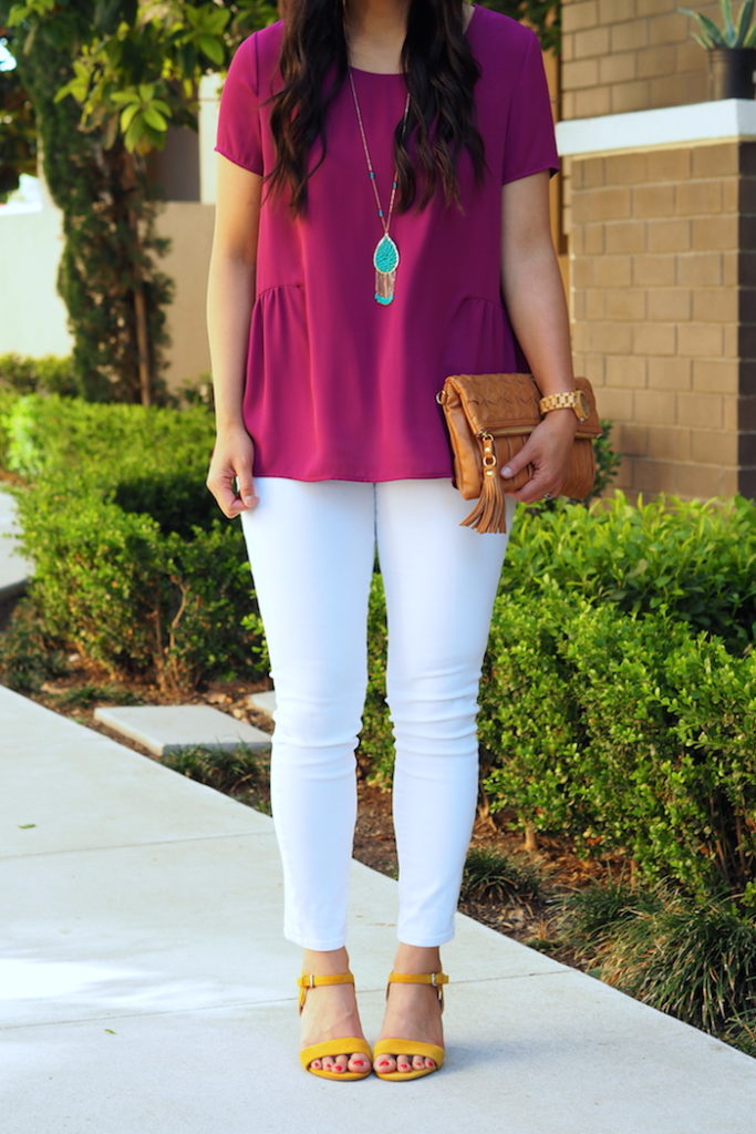 magenta top + turquoise and yellow accessories