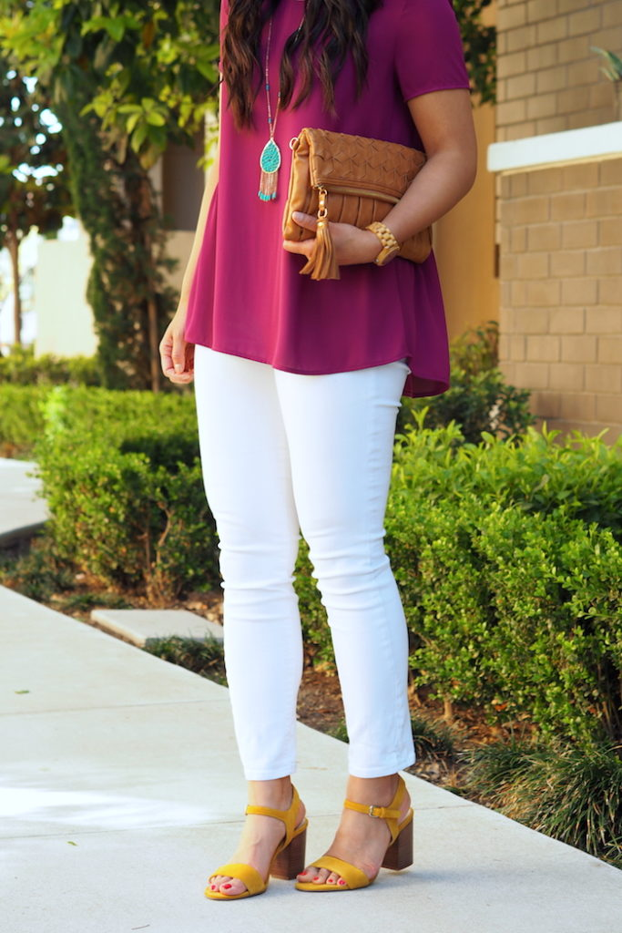 yellow heels + magenta top + turquoise accessories + white
