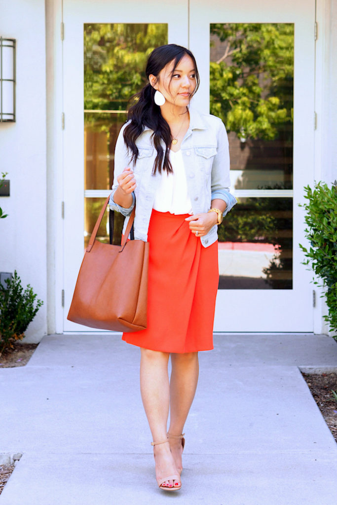 orange skirt + white blouse + nude pumps