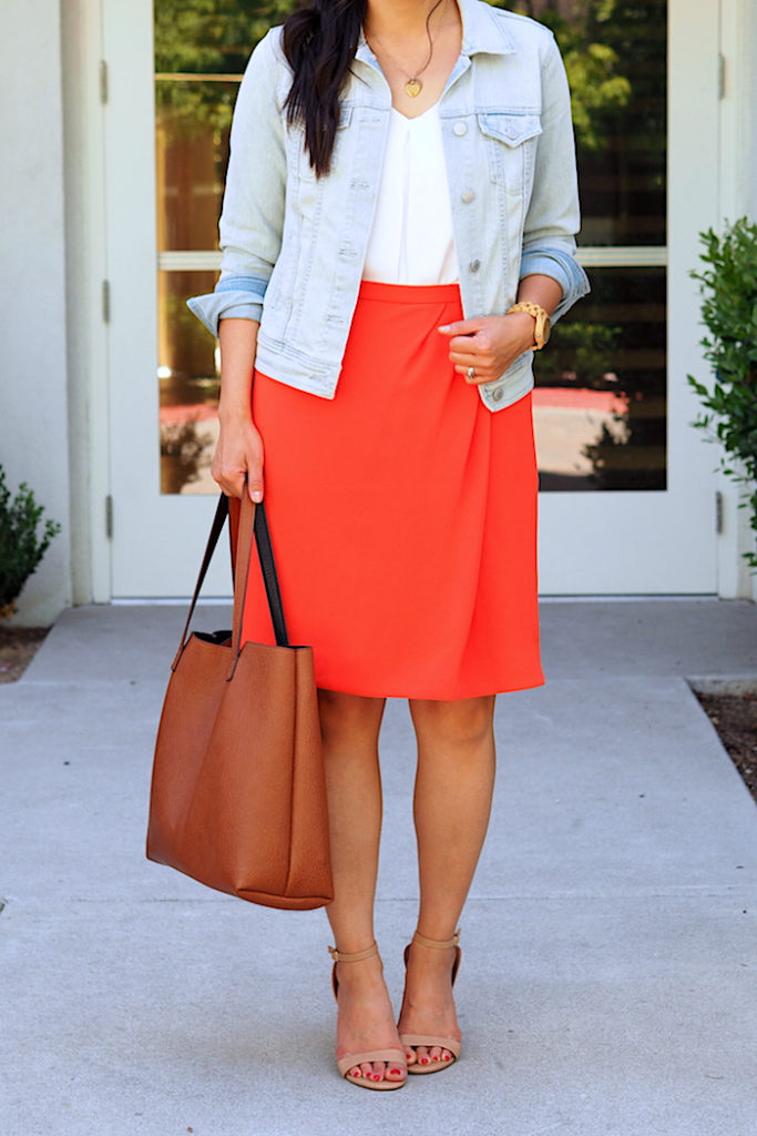 orange skirt + white blouse + denim jacket