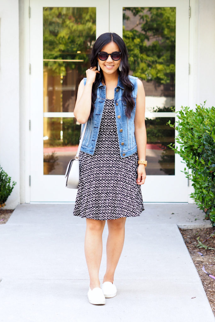 printed dress + denim vest + white accessories