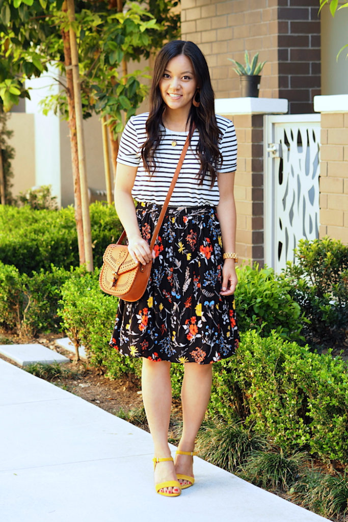 striped tee + printed skirt + colorful shoes