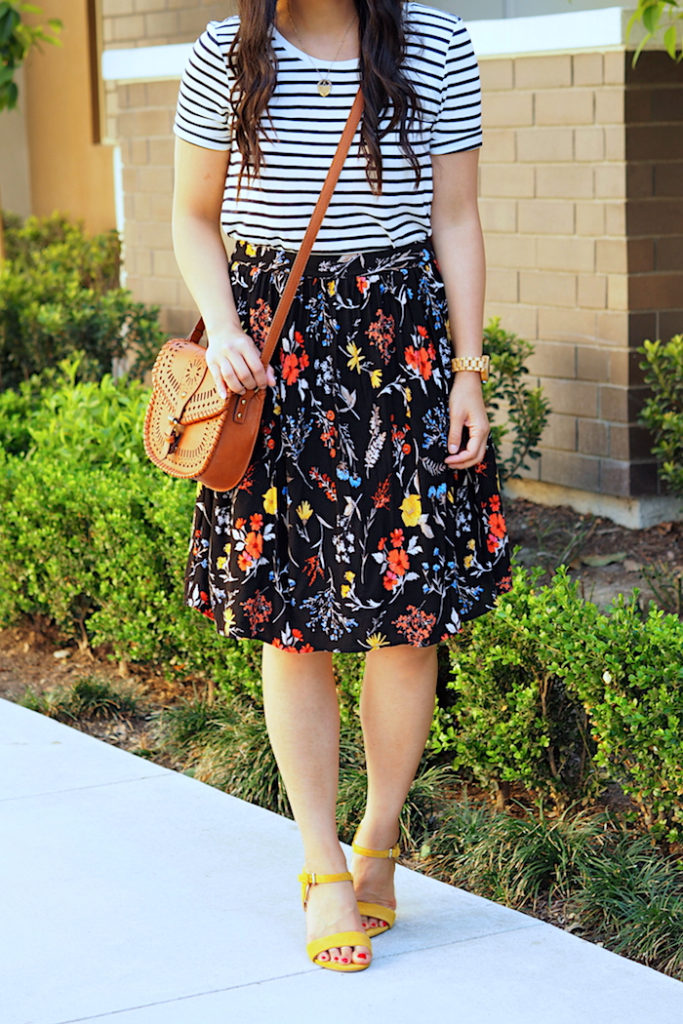 striped tee + floral print skirt + yellow heels