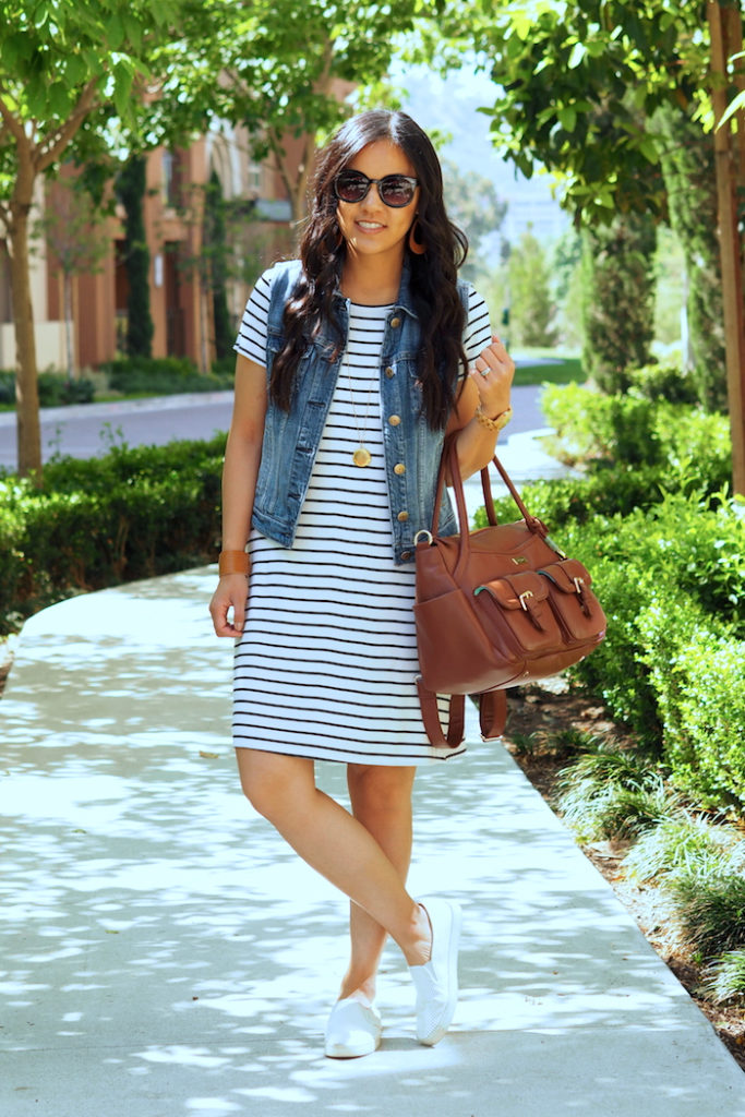 striped dress + denim vest + white sneakers