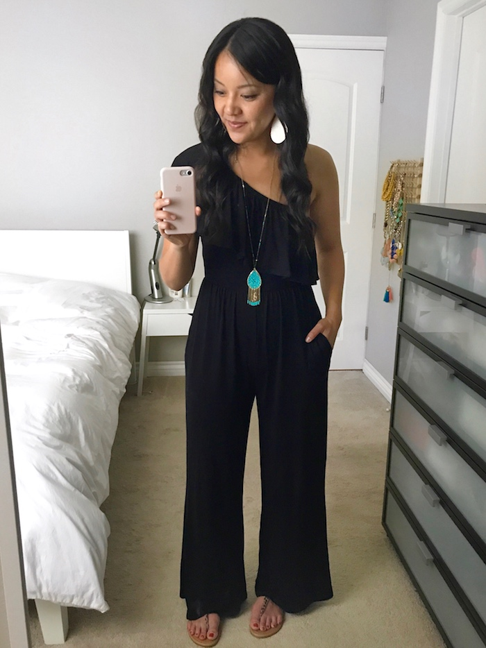 black jumpsuit + turquoise accessories