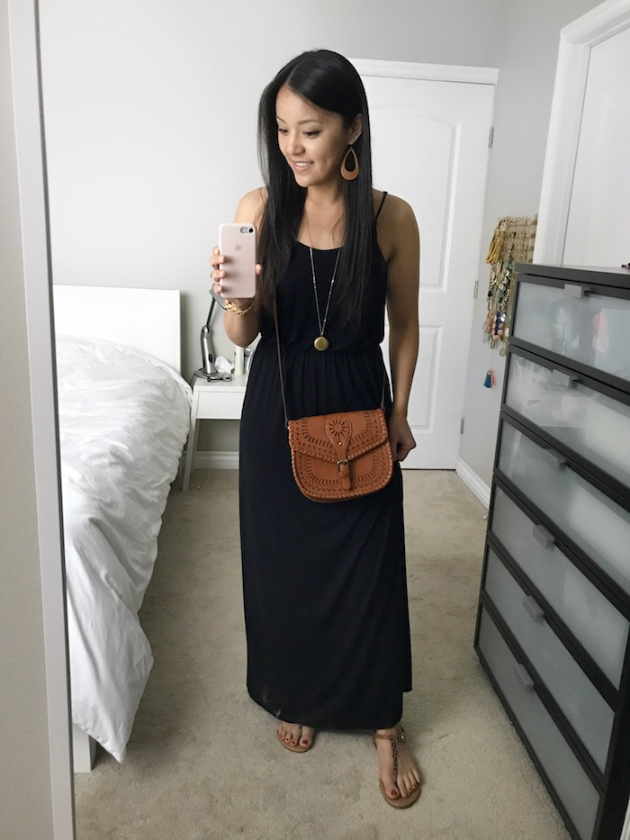 black maxi dress + cognac and gold accessories
