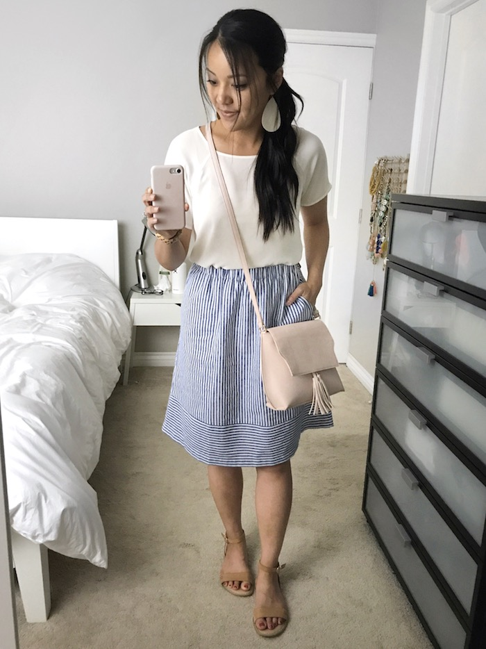 light blue striped skirt + white top + blush