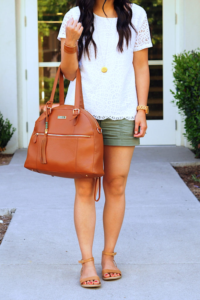 lace top + olive green utility shorts + tan accessories