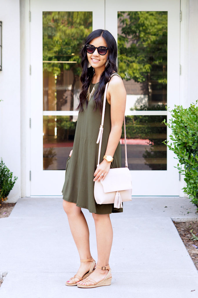 summer outfit: olive green dress + tan accessories + blush