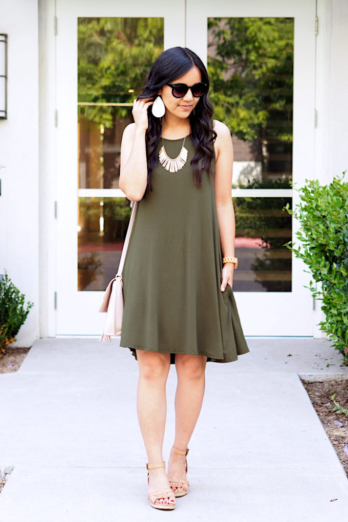 olive green tank swing dress + gold accessories