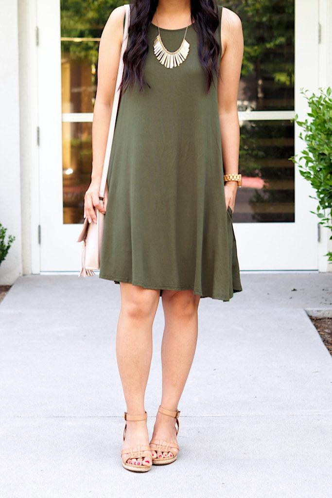 olive green dress + tan accessories + gold + blush