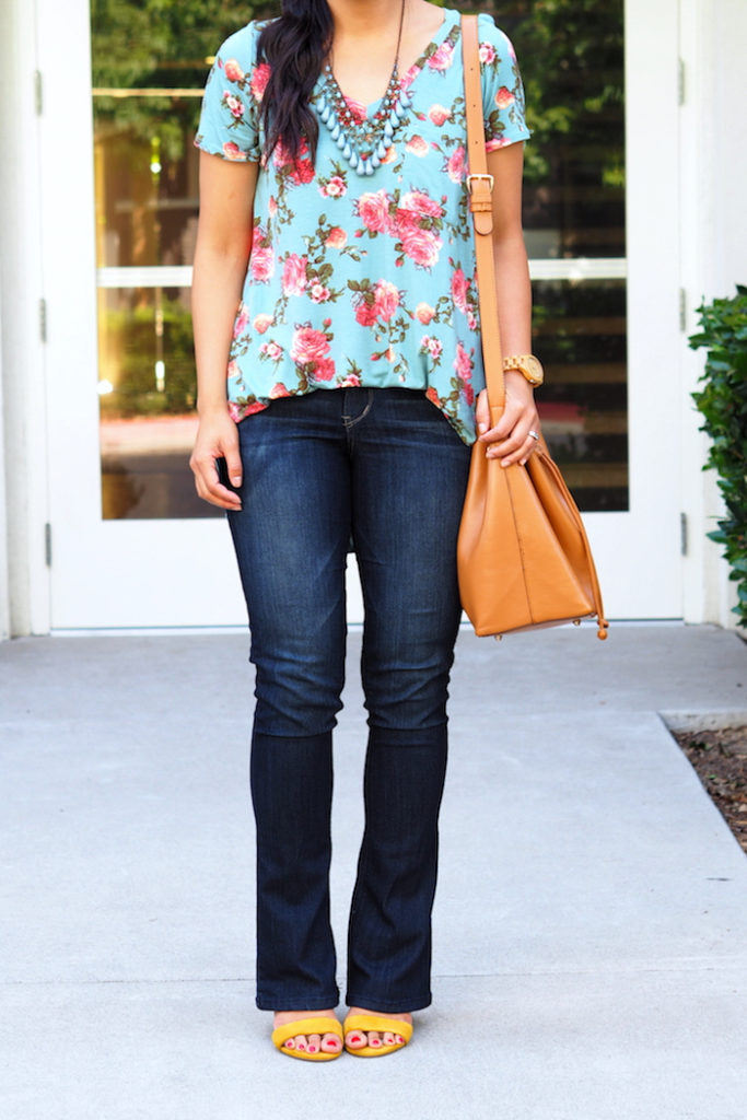 turquoise floral print shirt + bootcut jeans + yellow heels