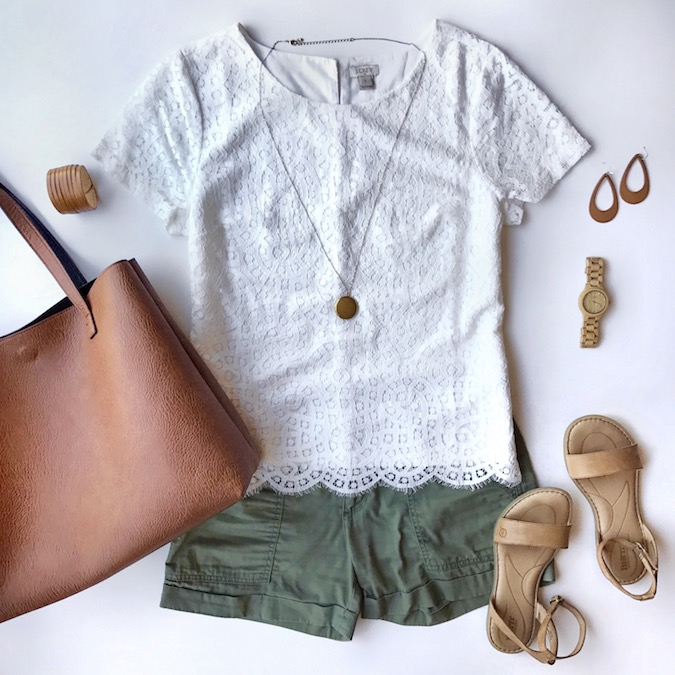 white lace top + olive green utility shorts + tan accessories
