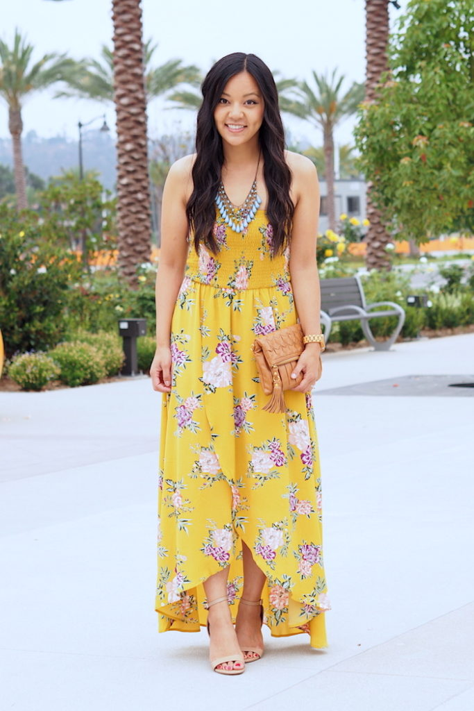 Summer Wedding Guest Outfit: yellow floral print dress + teal statement necklace + nude heels