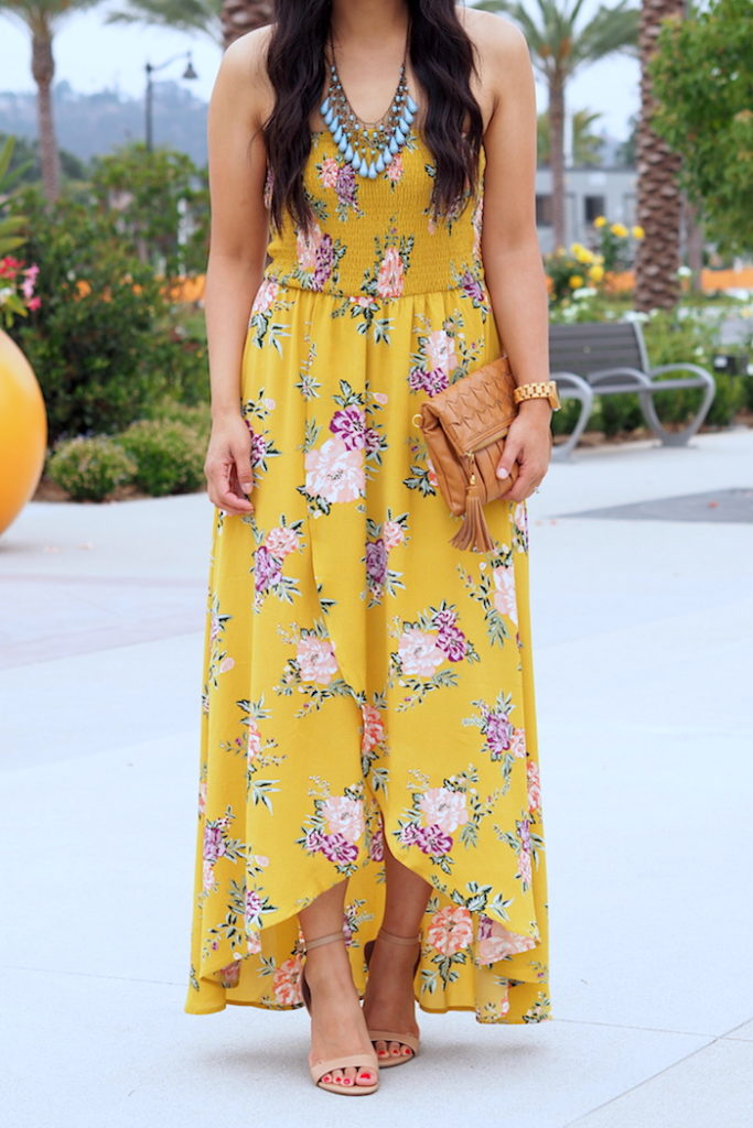 Summer Wedding Guest Outfit: yellow floral print dress + teal statement necklace