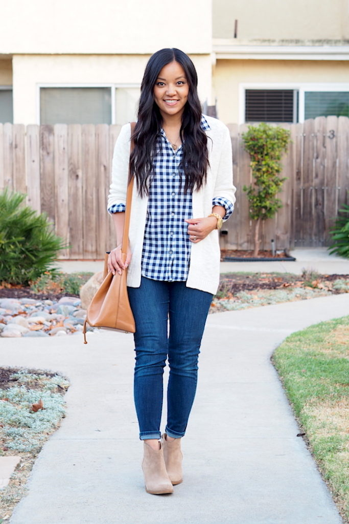 navy gingham + jeans + taupe booties + white cardigan