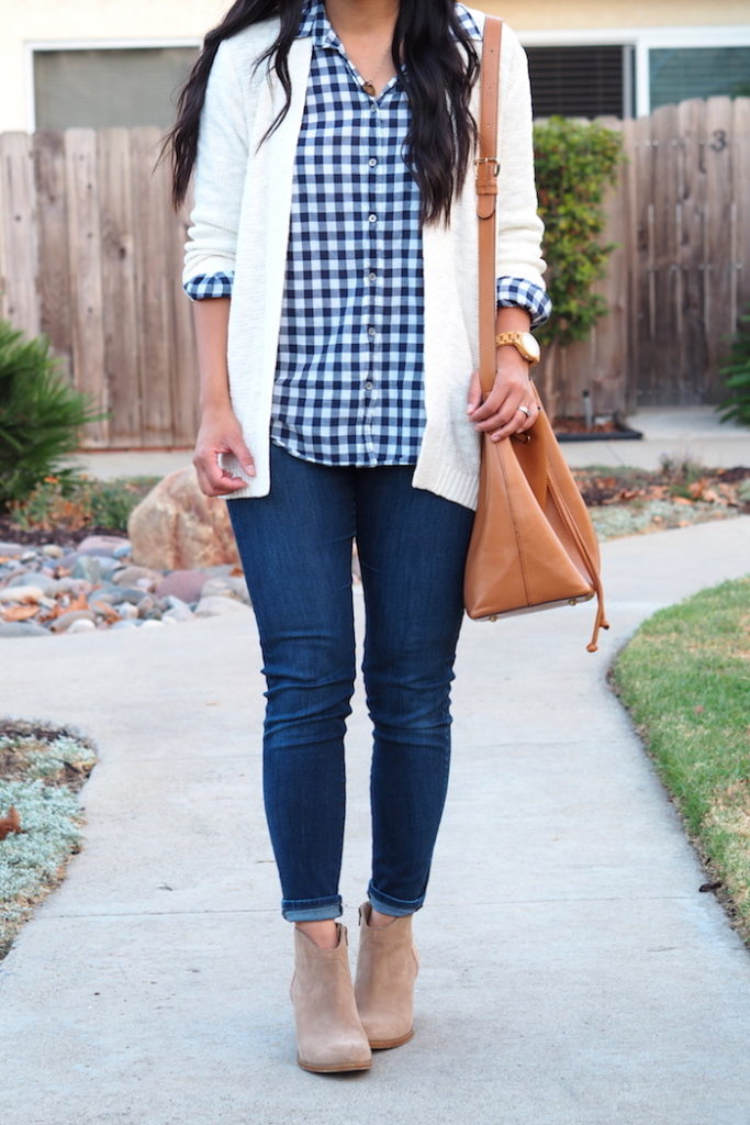navy gingham + white cardigan + jeans + taupe booties