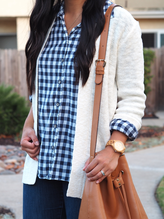 navy gingham + white cardigan