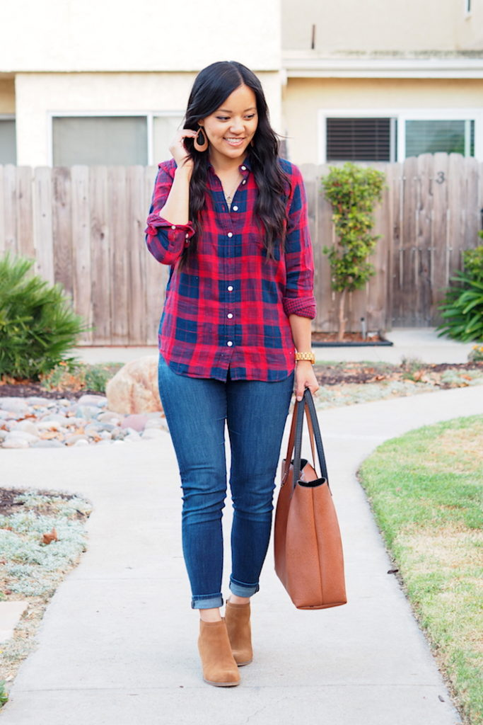 red navy plaid + jeans + tan booties