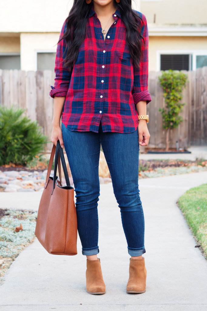red navy plaid button up + jeans + tan ankle boots