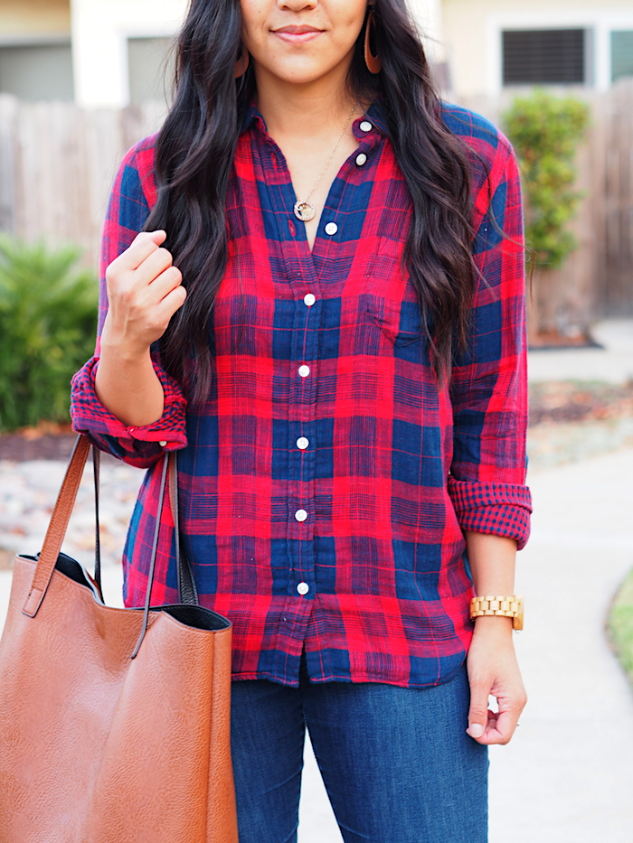 red navy plaid button up