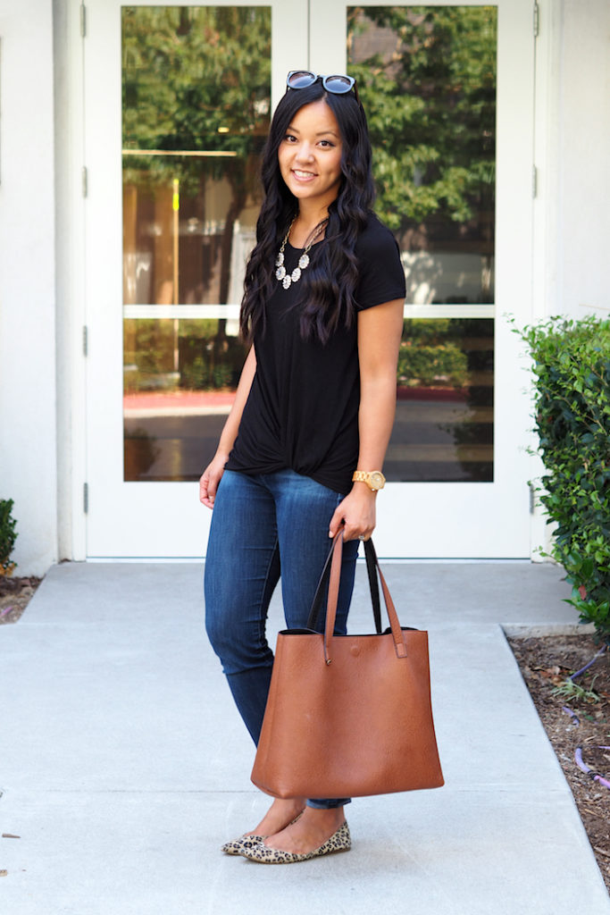 black twist tee + leopard flats + statement necklace