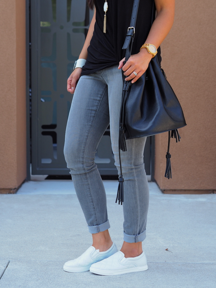 black twist tee + grey jeans + white sneakers