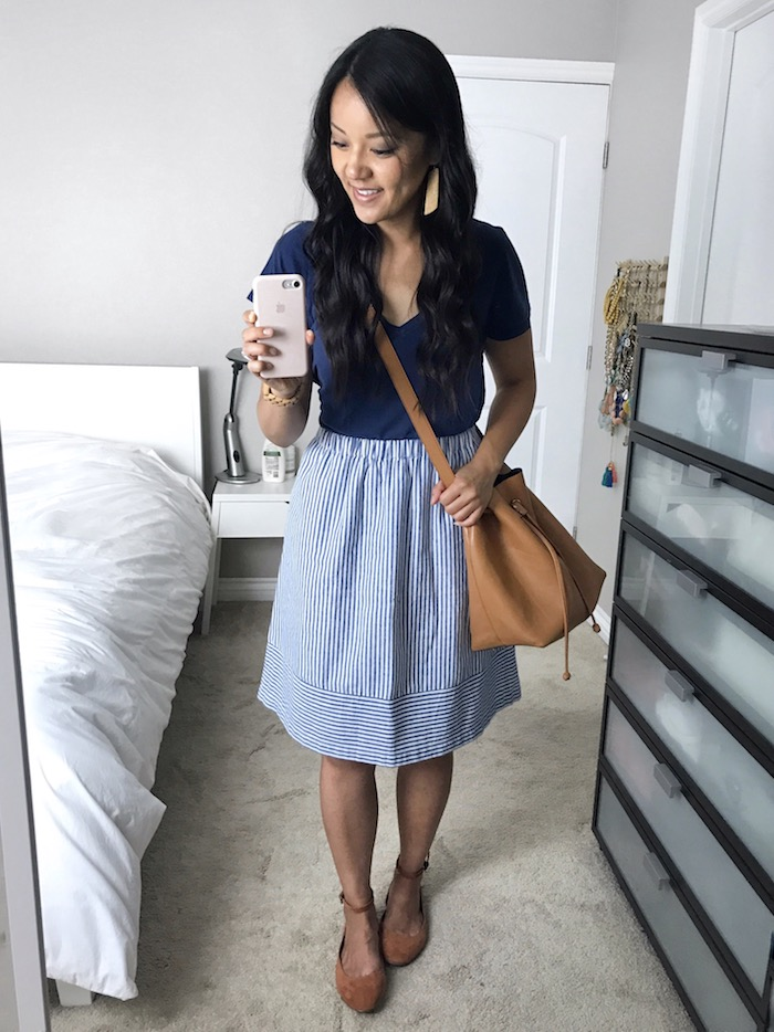 Navy Tshirt + Blue and White Striped Skirt + Bucket Bag + Rust Flats