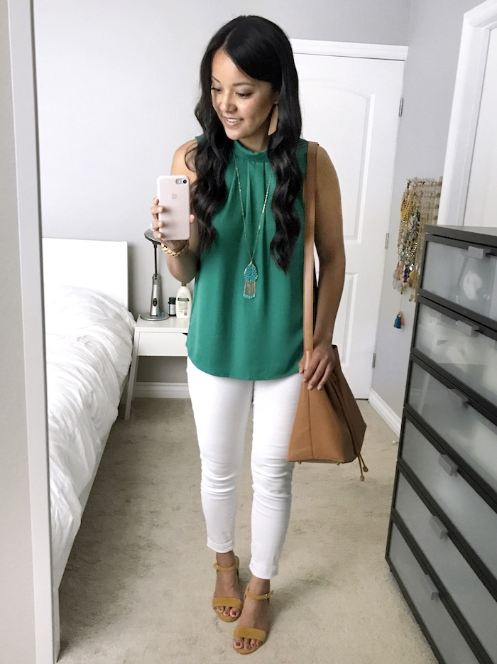 green top + white jeans + yellow heels