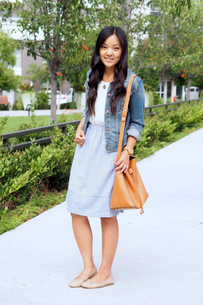 white top + striped skirt + denim jacket + nude Sam Edelman flats