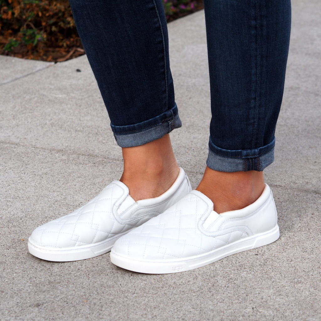 White Quilted UGG Sneakers