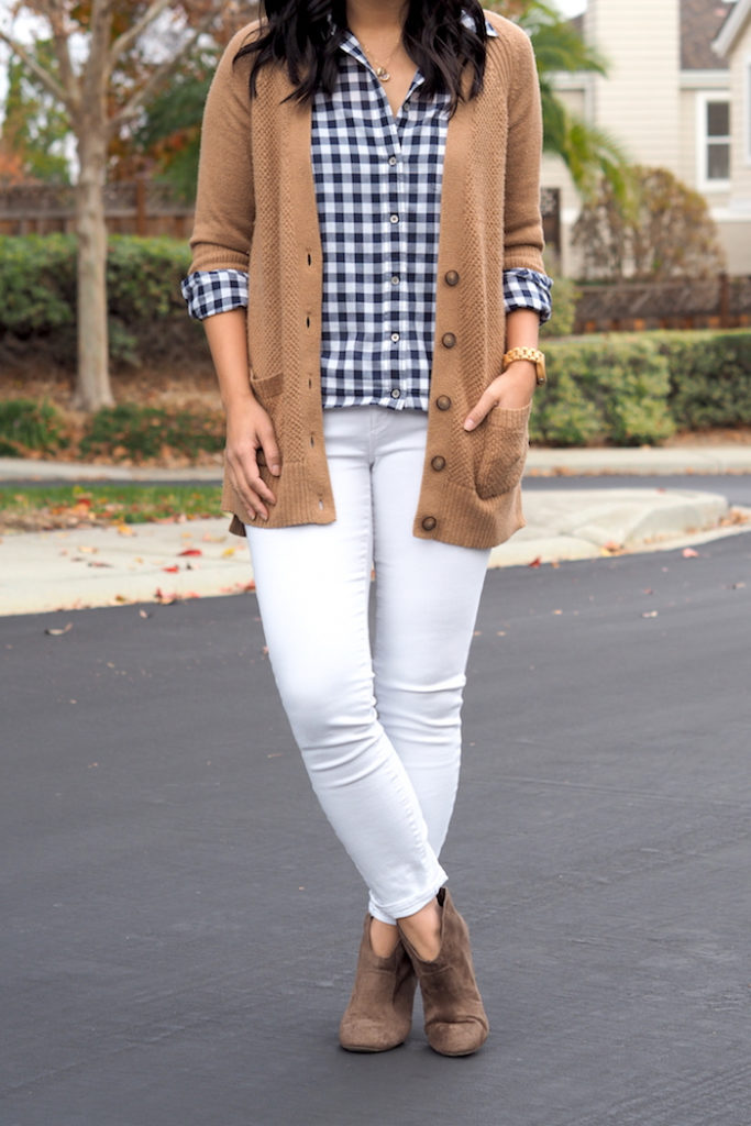 Tan Cardigan + White skinnies + booties + Blue gingham shirt