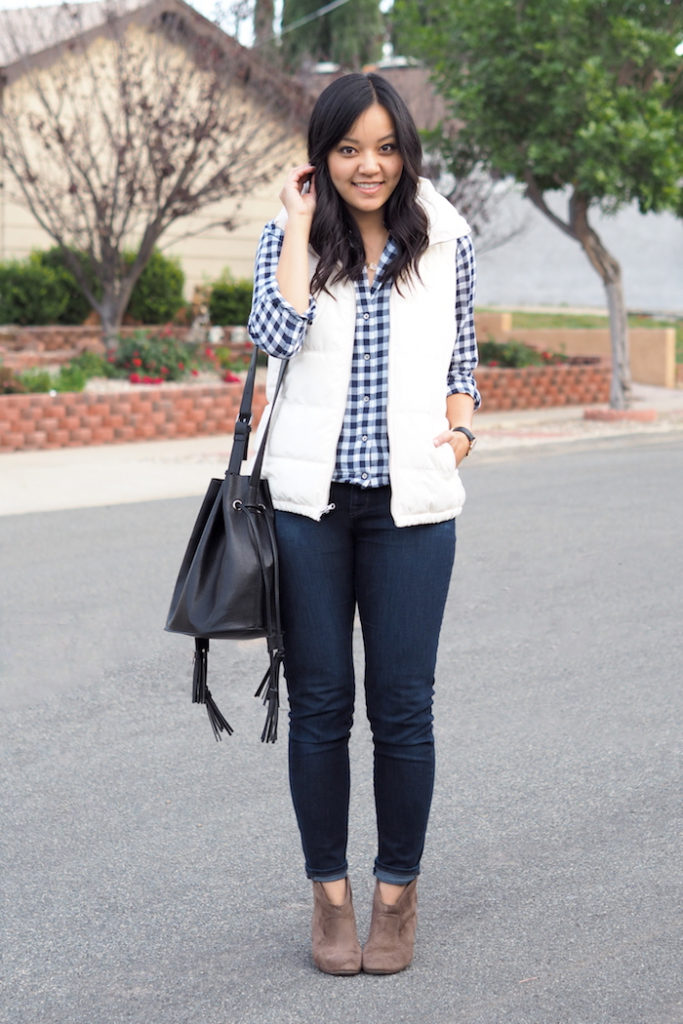 Gingham Button Up + White Puffer Vest + Skinnies +Black Purse