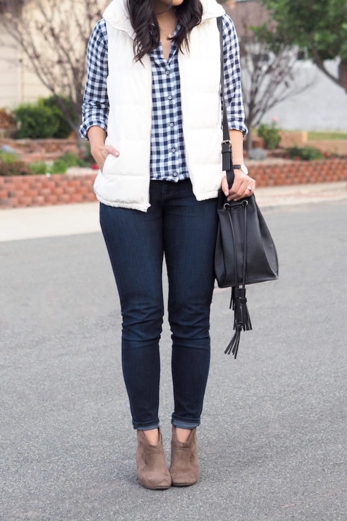 White puffer Vest + Gingham Shirt + Skinnies + booties
