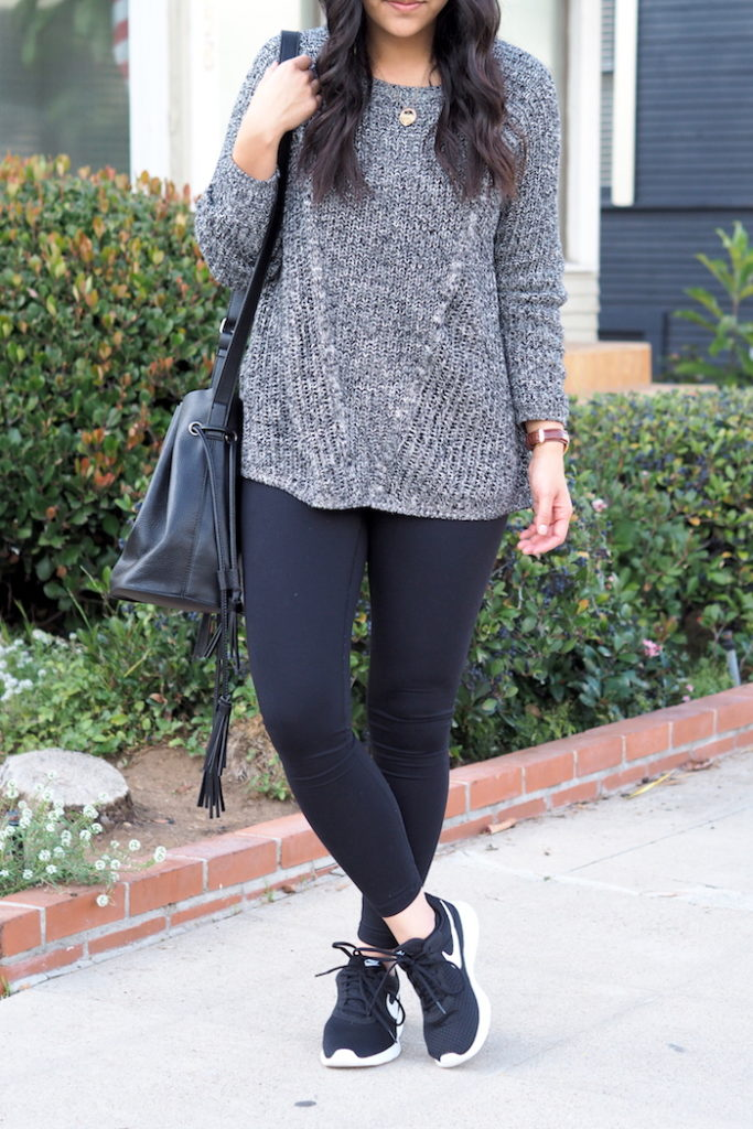 Grey Textured Sweater + Leggings + Black Nike Tanjun Sneakers